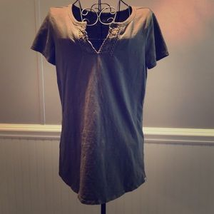 Olive V-Neck Blouse